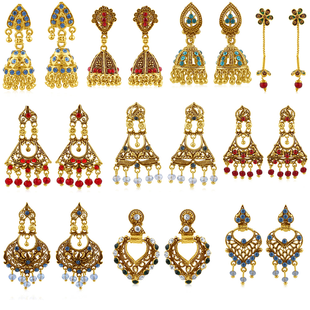 Sukkhi Ritzy Gold Plated Earring Combo for Women (Set of 10)