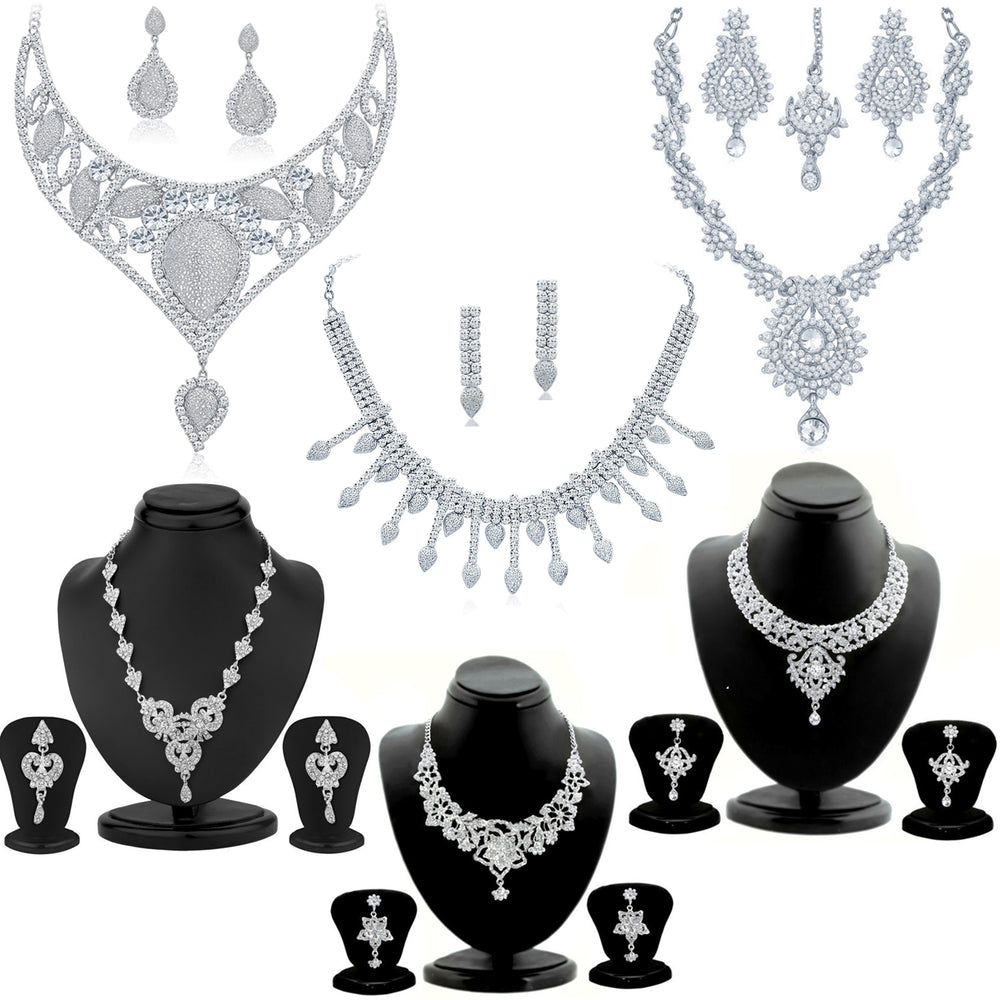 Sukkhi Exotic Rhodium Plated Necklace Set Combo