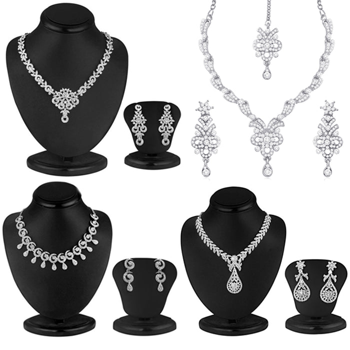 Sukkhi Classy Rhodium Plated Necklace Set Combo