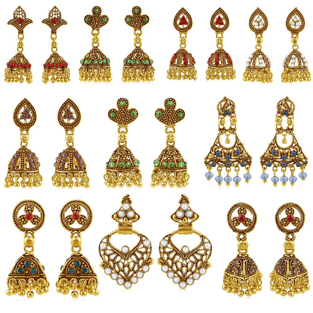 Sukkhi Attractive Gold Plated Earring Combo for Women (Set of 10)