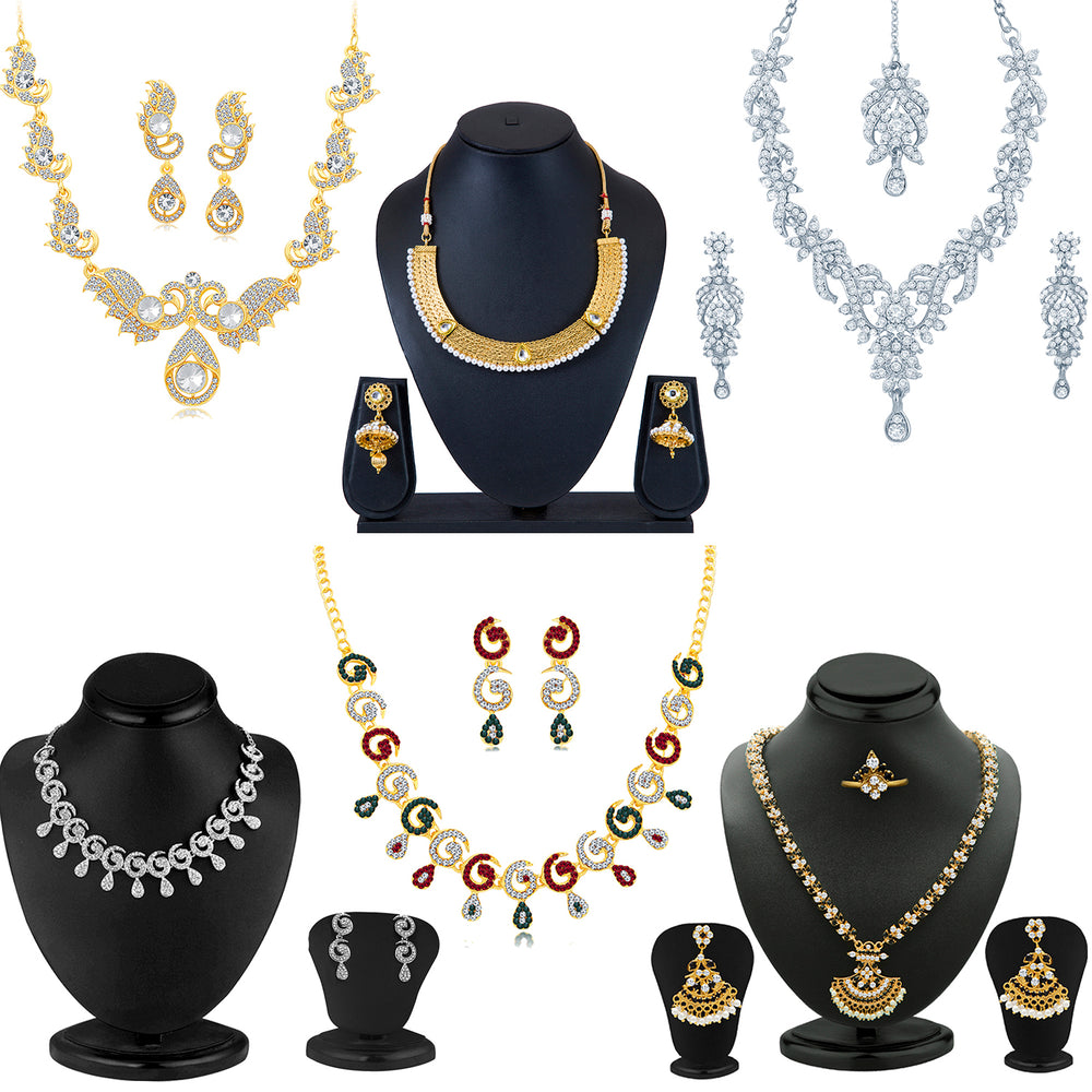 Sukkhi Ritzy Gold Plated and Rhodium Combo set for women