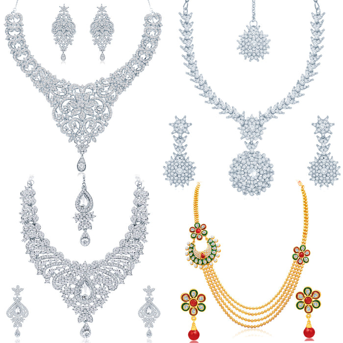 Sukkhi Stunning Gold Plated and Rhodium Combo set for women