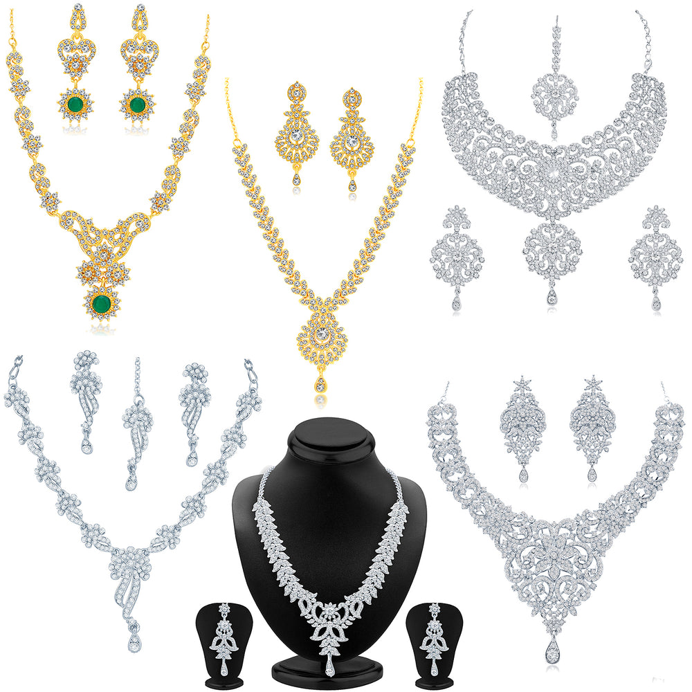 Sukkhi Blossamy Gold Plated and Rhodium Combo set for women