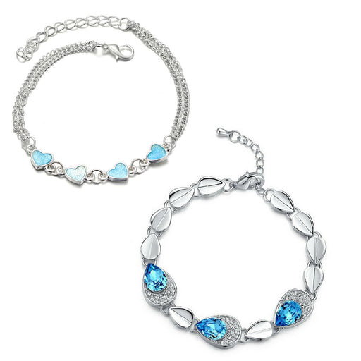 Sukkhi Attractive Crystal Rhodium Plated Bracelet Combo For Women