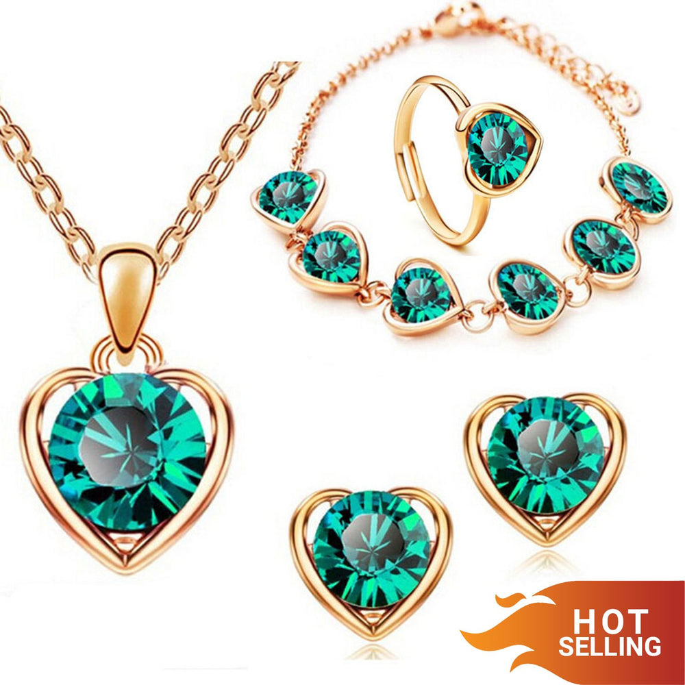 Sukkhi Dazzling Green Heart Gold Plated Combo for Women