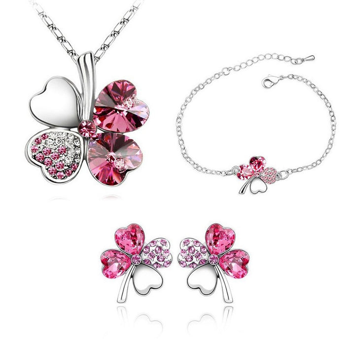 Sukkhi Exclusive  Floral Crystal Pink Rhodium Plated Combo for Women