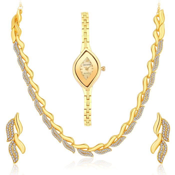 Sukkhi Classic Gold Plated Necklace Set + Watch Combo for Women