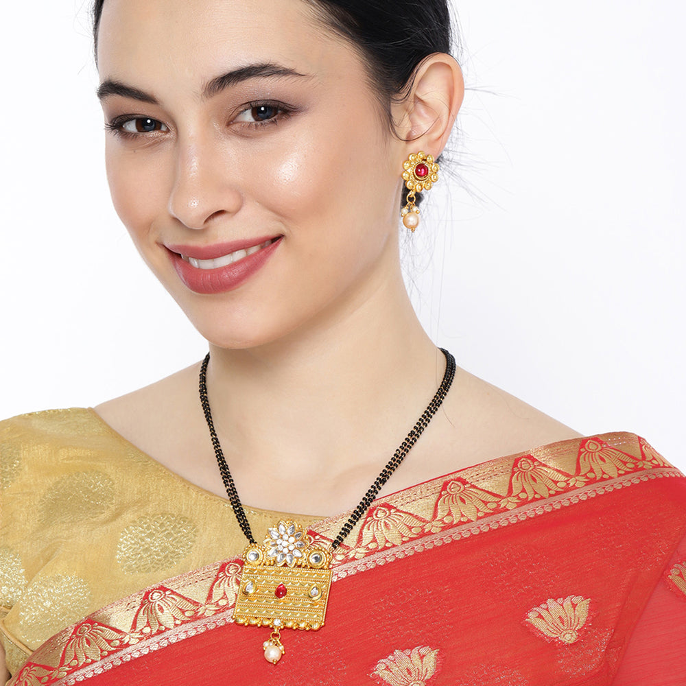 Sukkhi Ethnic Pearl Gold Plated Kundan Mangalsutra Combo For Women