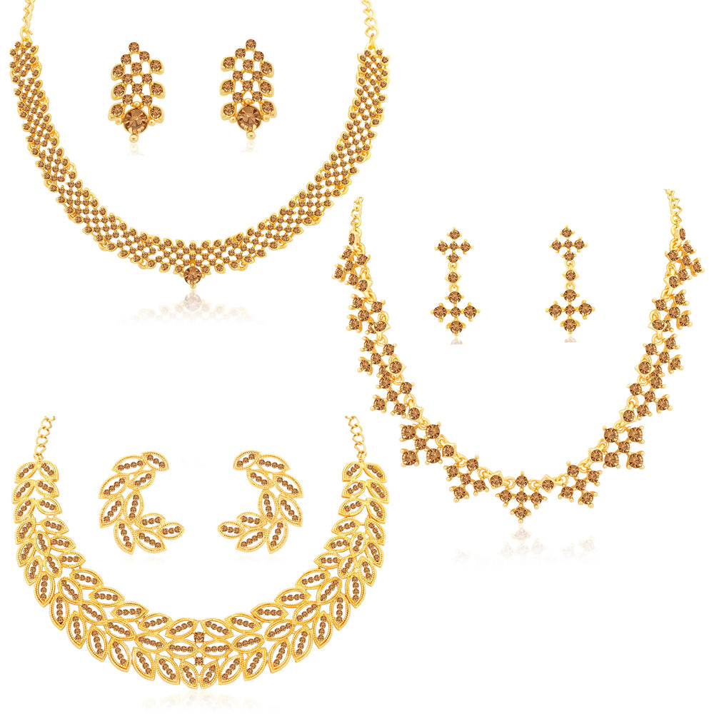 Sukkhi Incredible LCT Gold Plated Leafy Necklace Set Combo for Women