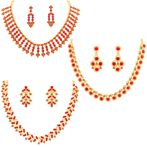 Sukkhi Splendid LCT and Red Stone Gold Plated Necklace Set Combo for Women