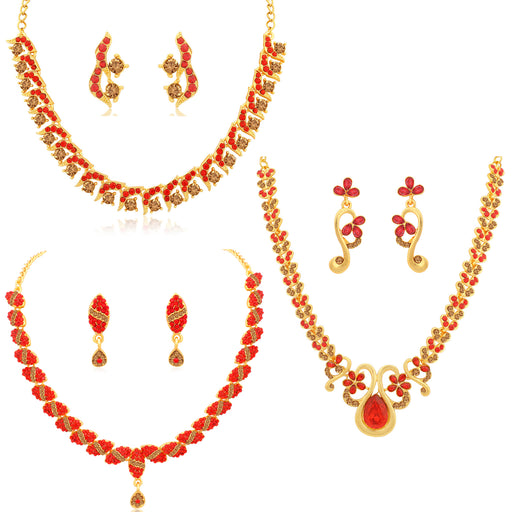Sukkhi Glossy LCT and Red Stone Gold Plated Floral Necklace Set Combo for Women