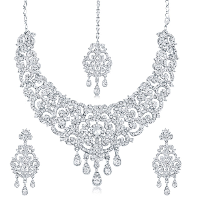 Sukkhi Charming Rhodium Plated Necklace Set Combo  For Women