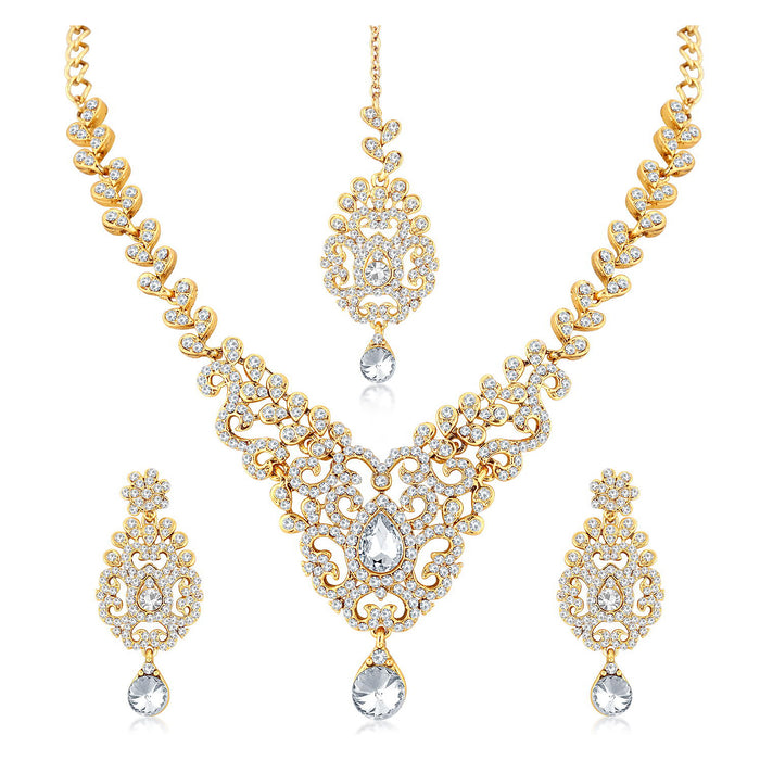 Sukkhi Spectacular Gold Plated Pearl Necklace Set Combo  For Women