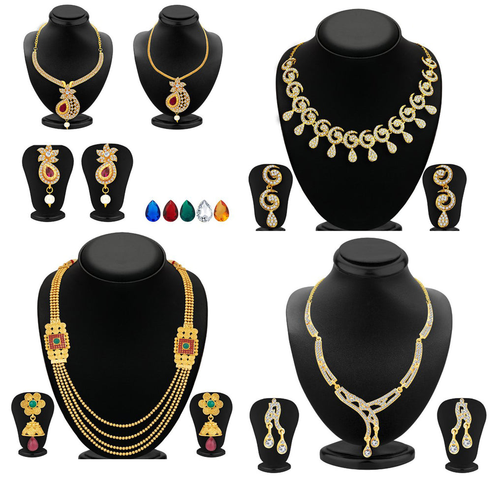 Sukkhi Gleaming Gold Plated Necklace Set Combo  For Women