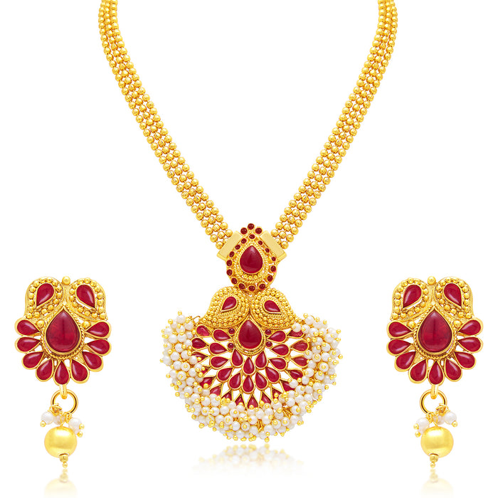 Sukkhi Traditional Gold and Rhodium Plated Pearl Necklace Set Combo  For Women