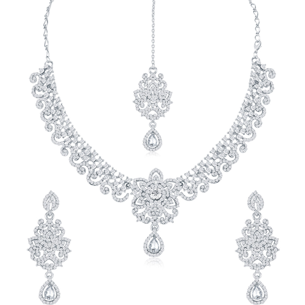 Sukkhi Glimmery Rhodium Plated Necklace Set Combo  For Women