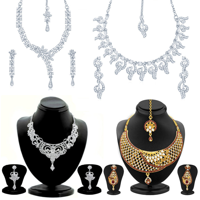Sukkhi Stylish Gold and Rhodium Plated Necklace Set Combo  For Women