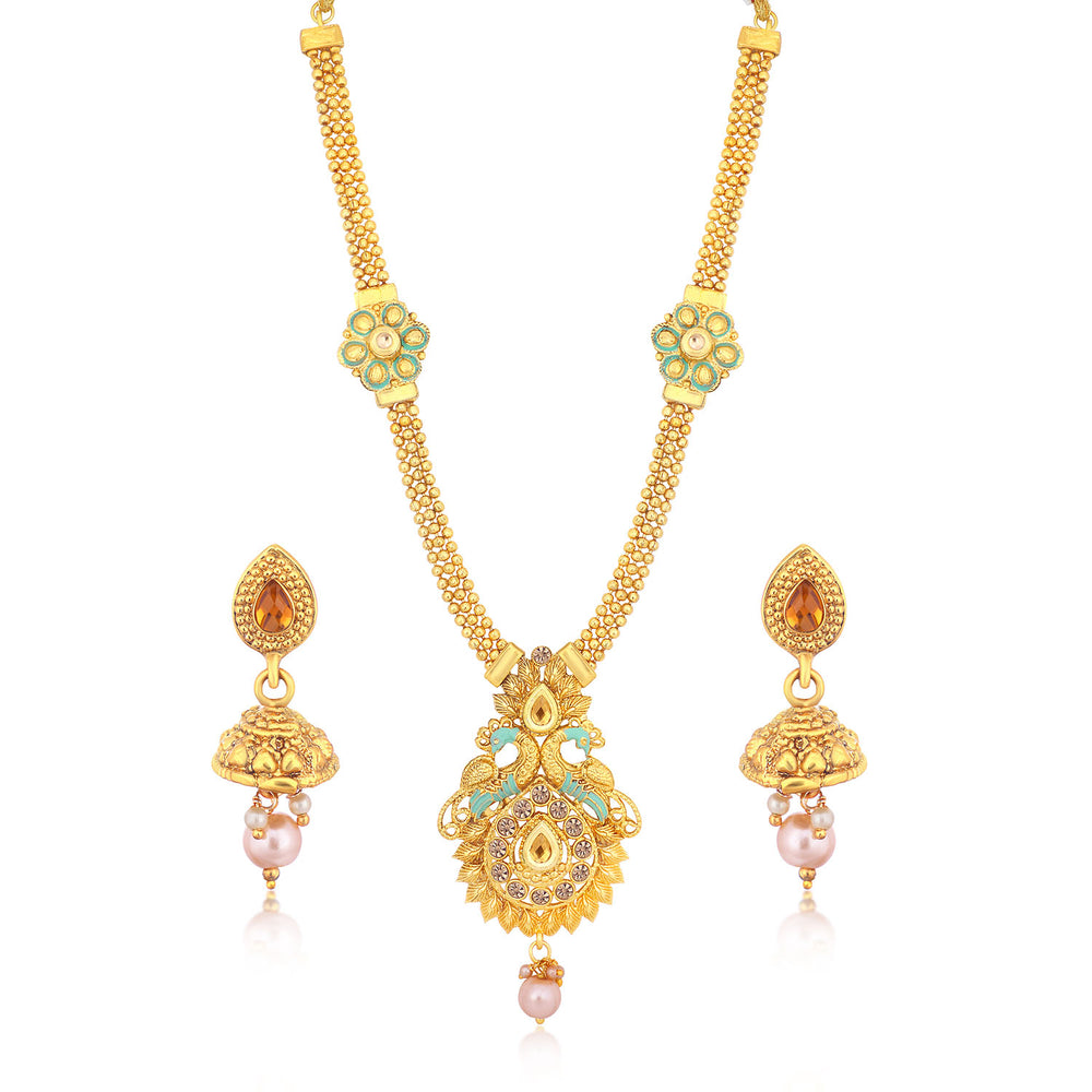 Sukkhi Ethnic Gold Plated Pearl Necklace Set Combo  For Women