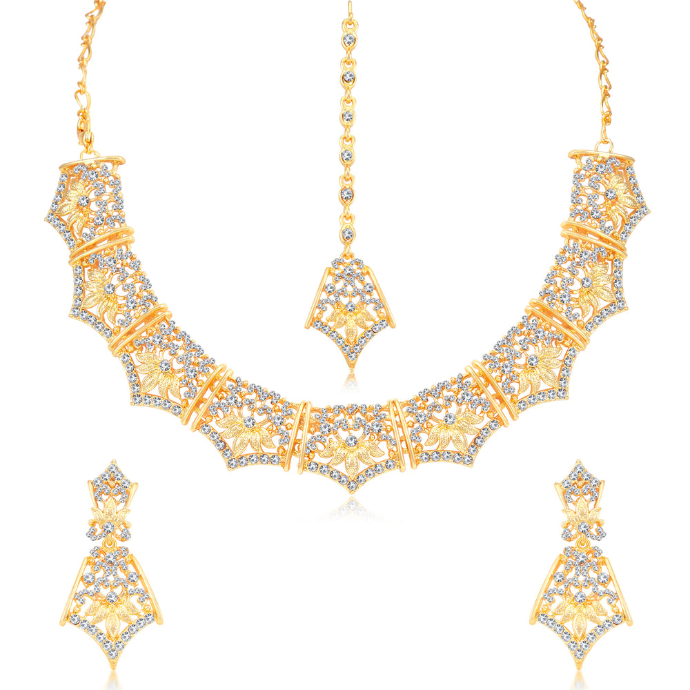 Sukkhi Blossomy Gold and Rhodium Plated Necklace Set Combo  For Women