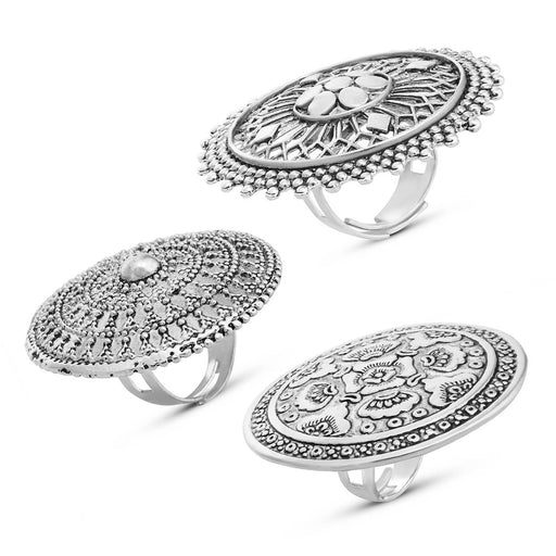 Sukkhi Traditional Oxidised Cocktail Ring Combo For Women