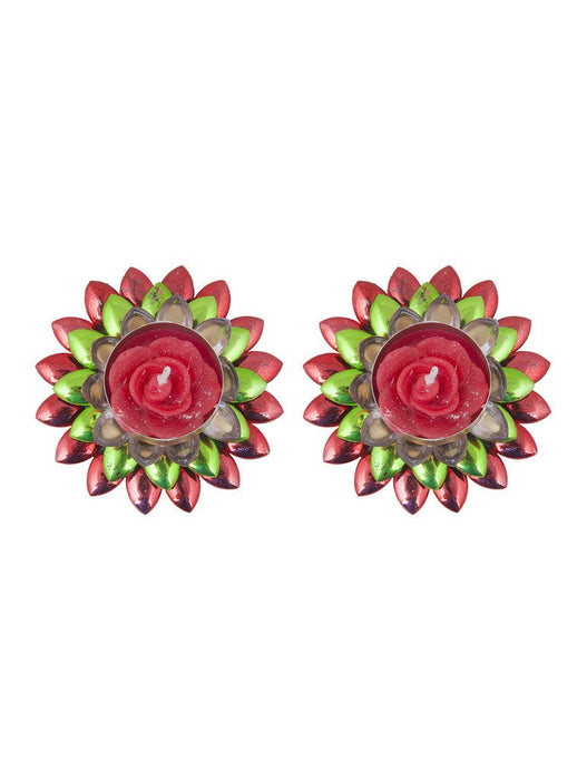 Sukkhi Dual Coloured, Red and Green Floral Diya Candle-2