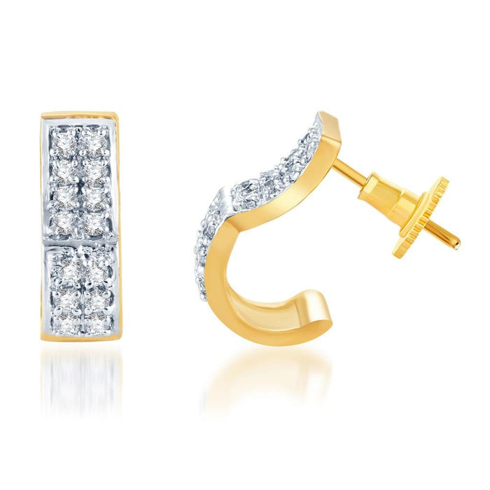 Pissara Graceful Gold and Rhodium plated CZ Earrings