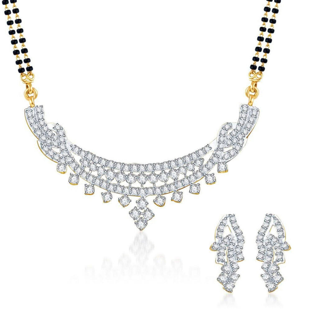 Pissara Fabulous Gold and Rhodium plated CZ Mangal Sutra Set