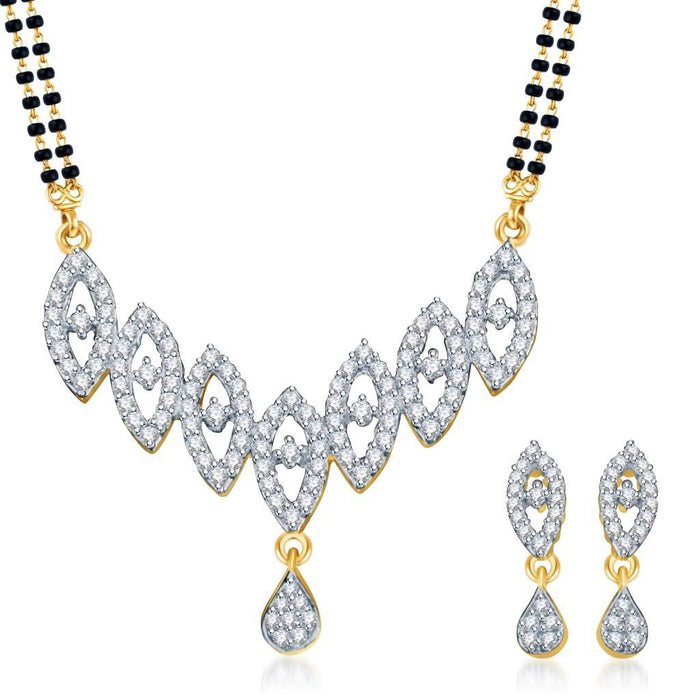 Pissara Youthful Trendy Gold and Rhodium plated CZ Mangal Sutra Set