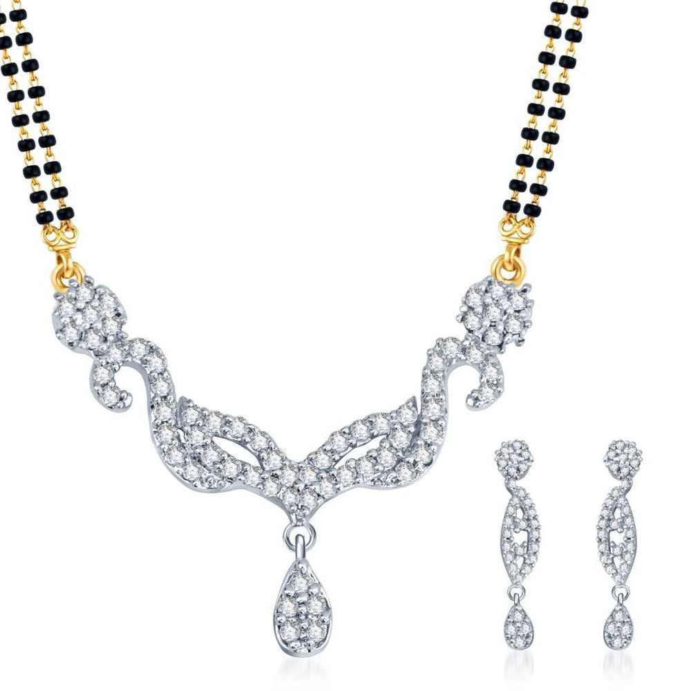 Pissara Exotic Gold and Rhodium plated CZ Mangal Sutra Set