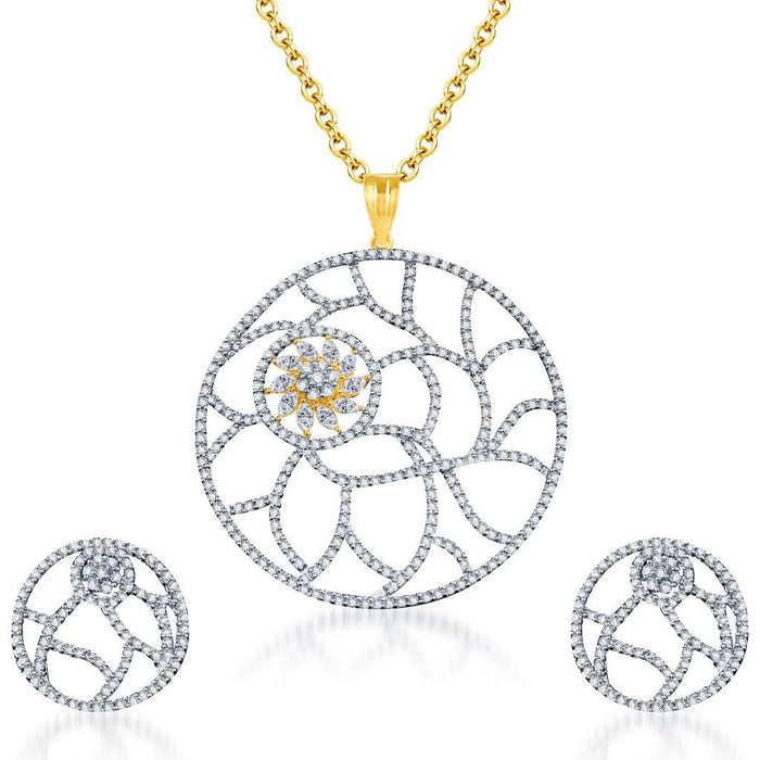 Pissara Trendy Gold and Rhodium plated CZ Pendant Set