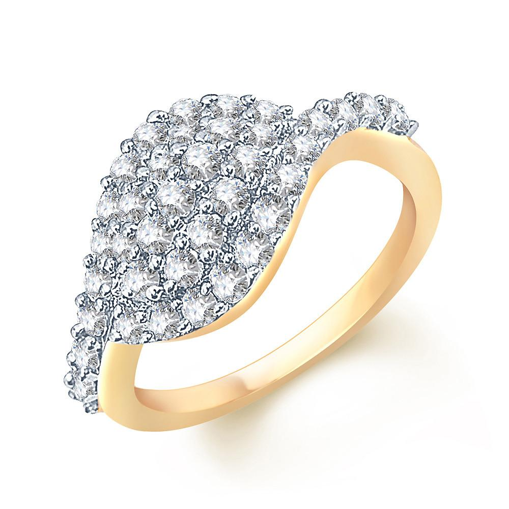 Pissara Artistically Crafted Gold and Rhodium plated CZ Studded Ring