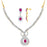 Pissara Gold and Rhodium plated Exotic CZ Necklace Set