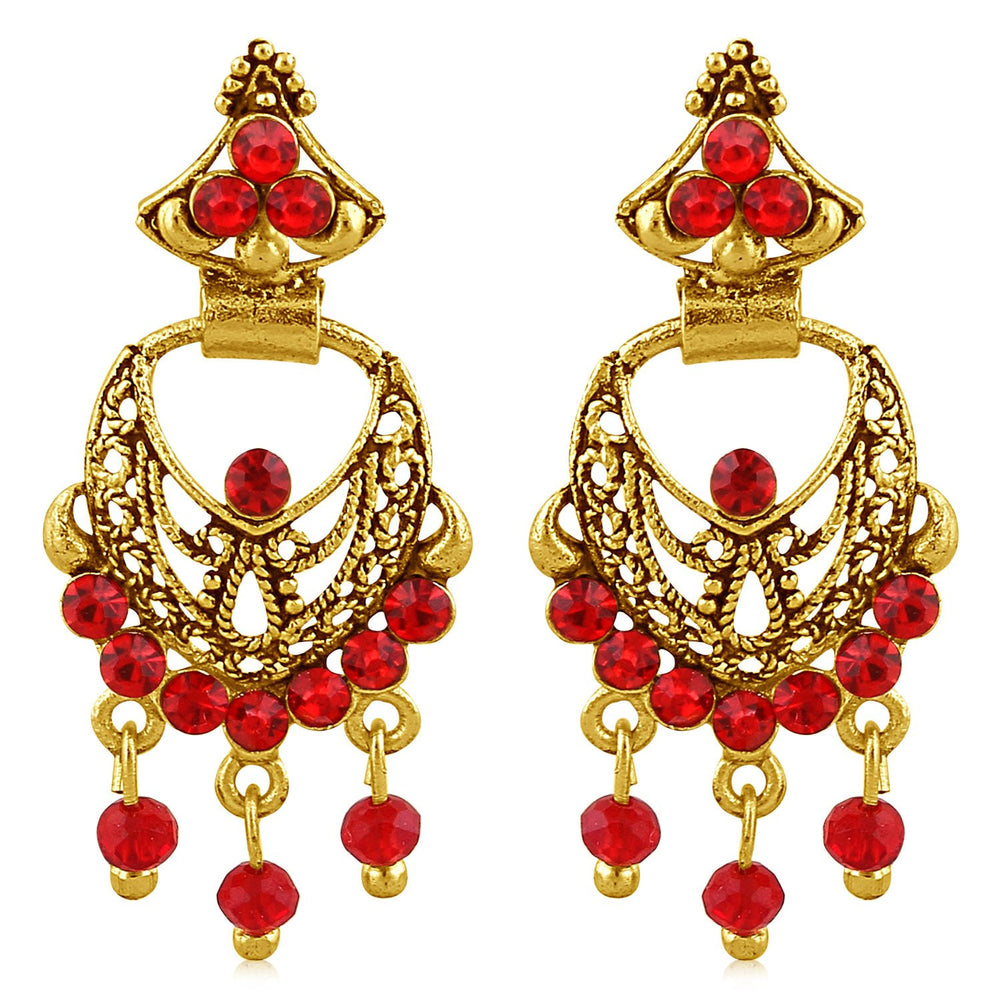 Sukkhi Excellent Gold Plated Red Studded Chandbali Stone Earring For Women