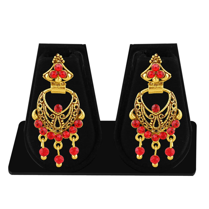 Sukkhi Excellent Gold Plated Red Studded Chandbali Stone Earring For Women-1