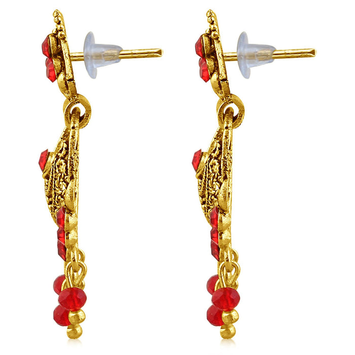 Sukkhi Excellent Gold Plated Red Studded Chandbali Stone Earring For Women-2