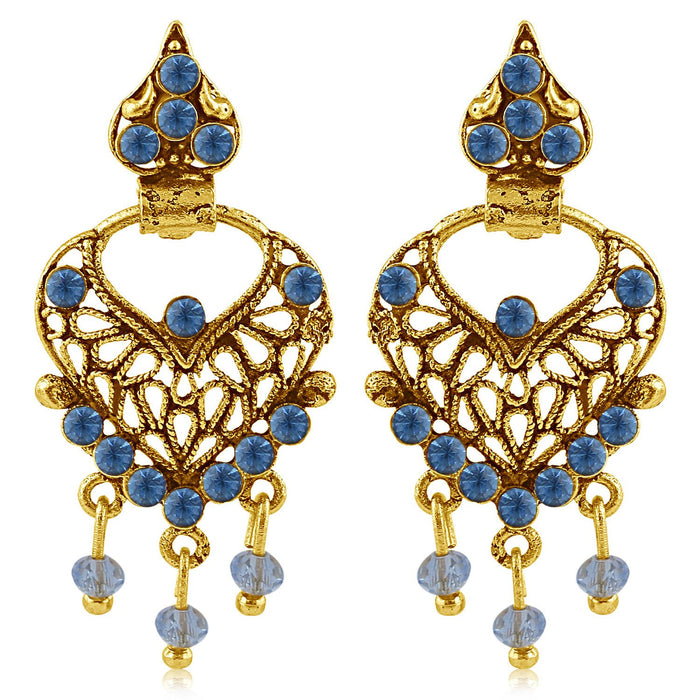 Sukkhi Ethnic Gold Plated Blue Studded Chandbali Stone Earring For Women