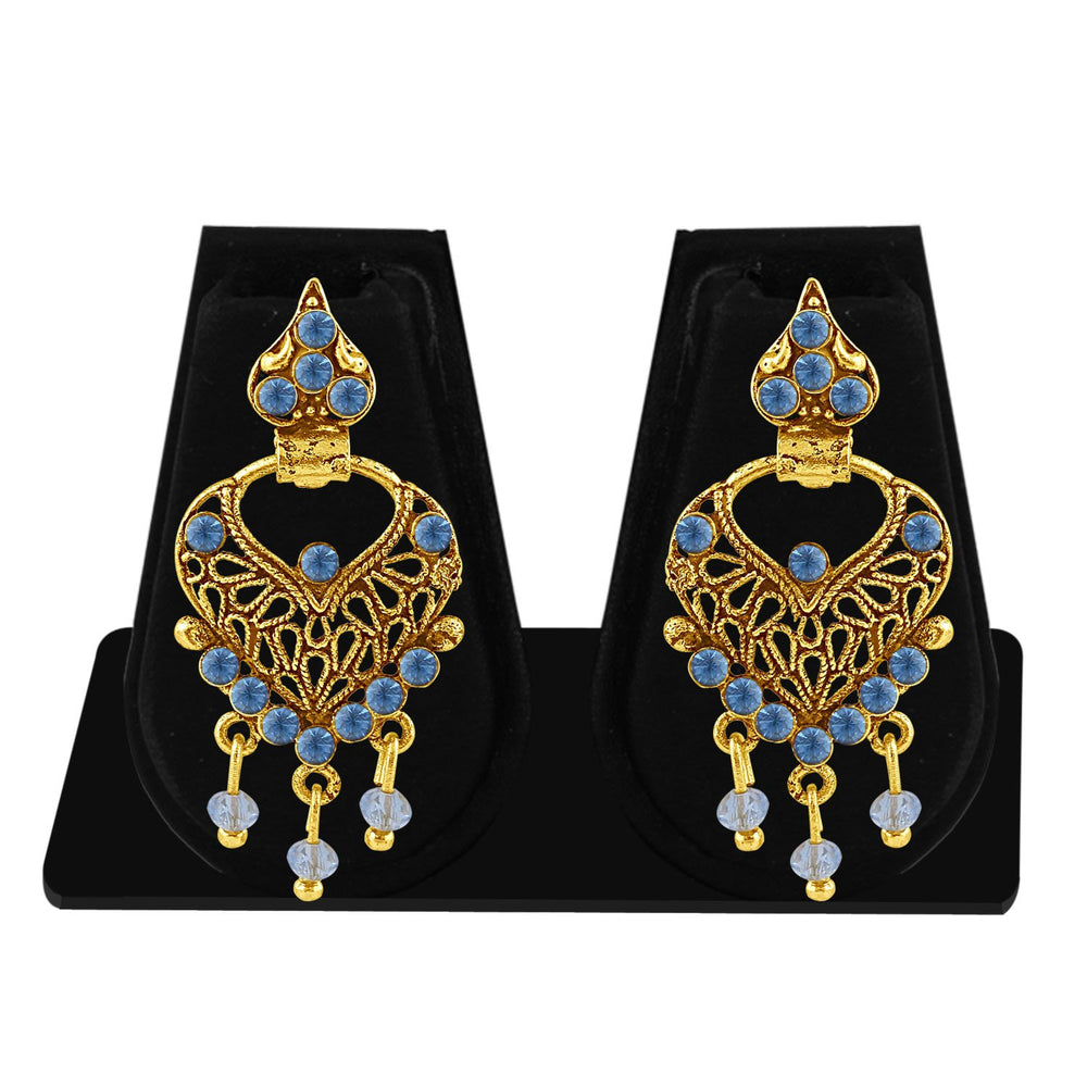 Sukkhi Ethnic Gold Plated Blue Studded Chandbali Stone Earring For Women-1