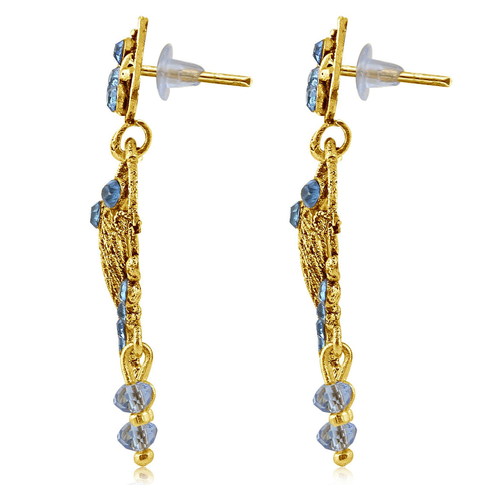 Sukkhi Ethnic Gold Plated Blue Studded Chandbali Stone Earring For Women-2