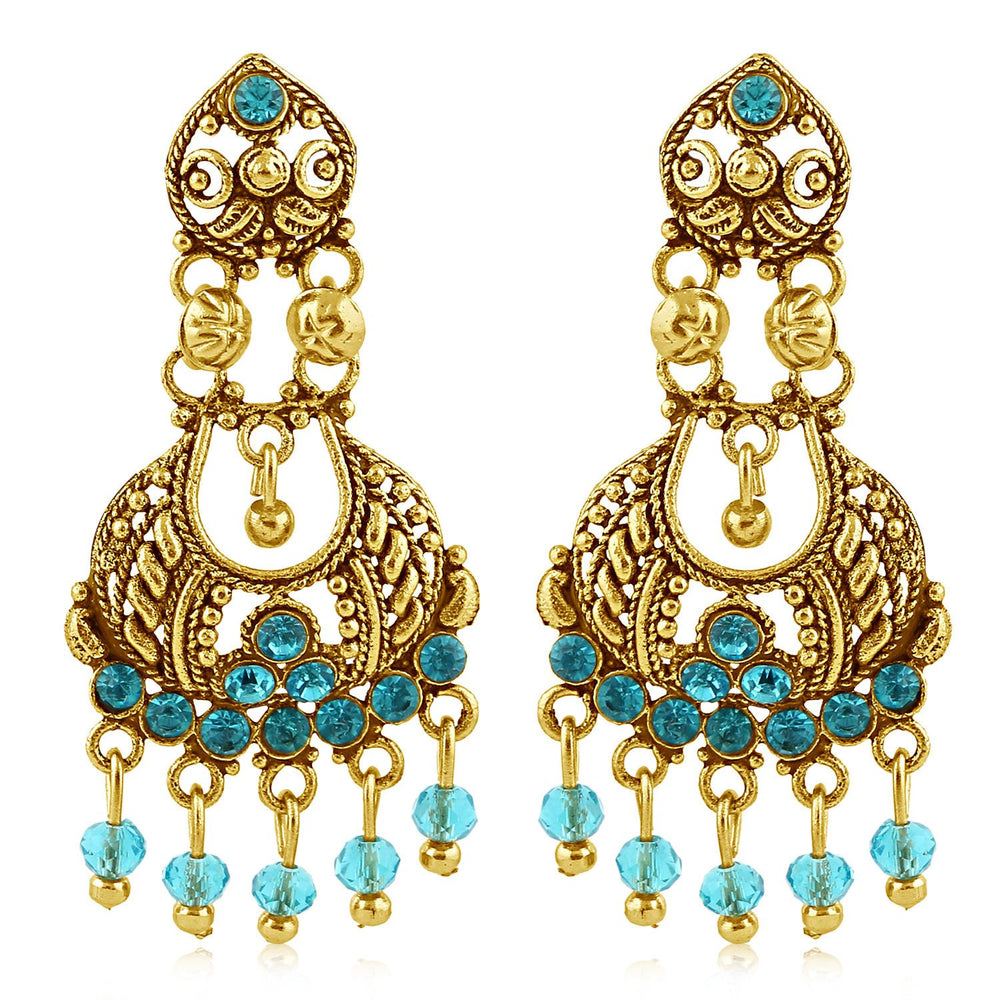 Sukkhi Bewitching Gold Plated Aqua Studded Chandelier Stone Earring For Women