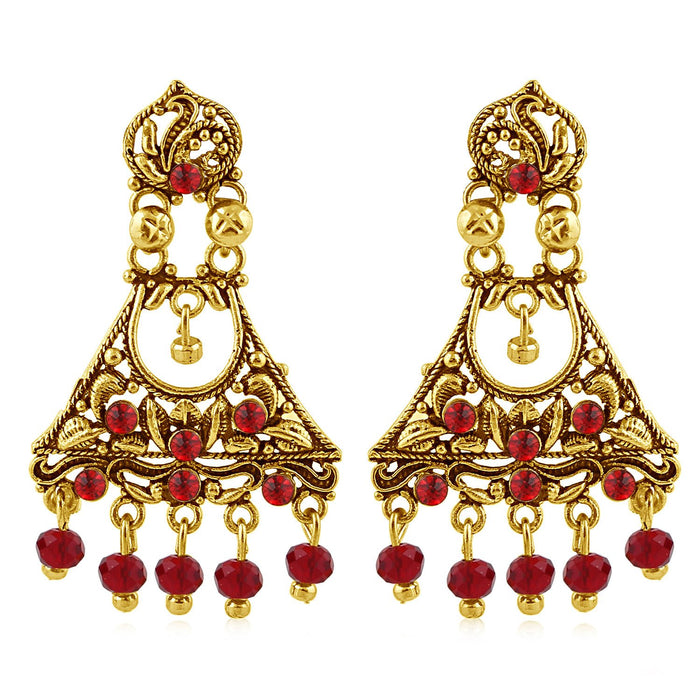 Sukkhi Enchanting Gold Plated Red Studded Chandelier Stone Earring For Women