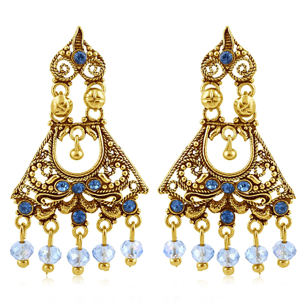 Sukkhi Alluring Gold Plated Blue Studded Chandelier Stone Earring For Women