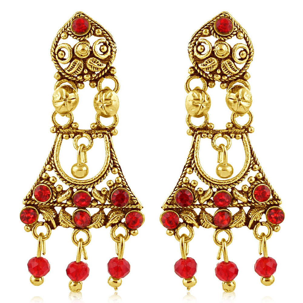 Sukkhi Creative Gold Plated Red Studded Chandelier Stone Earring For Women