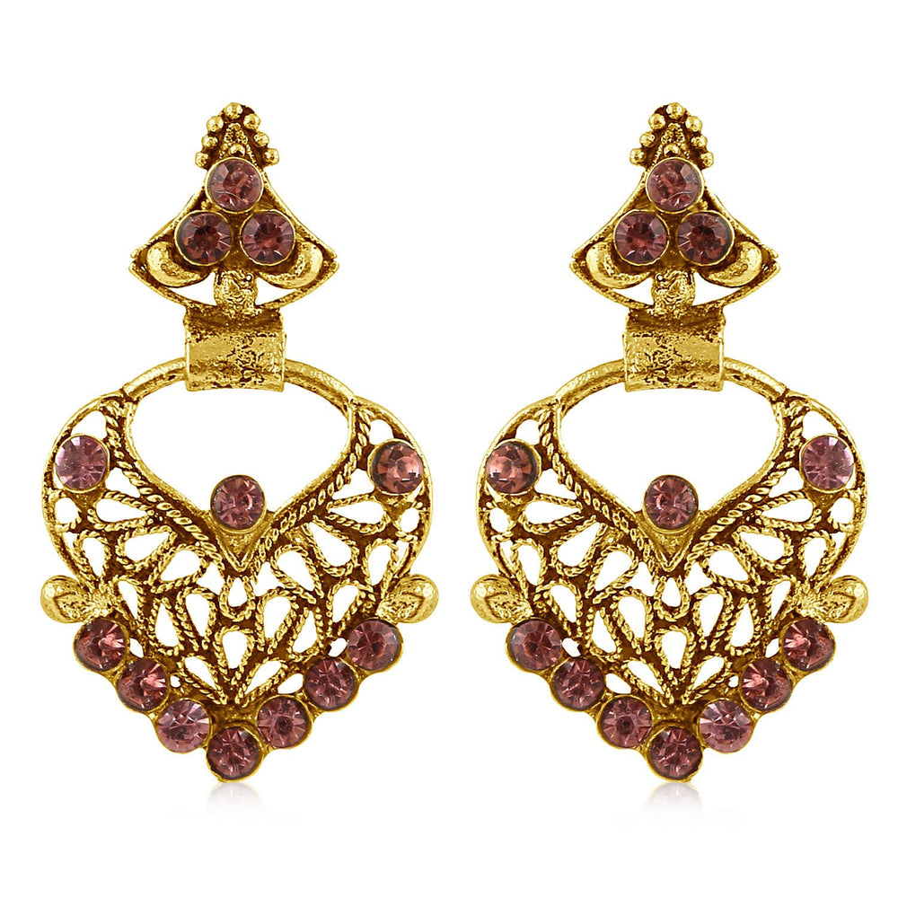 Sukkhi Classy Gold Plated Purple Studded Dangle Stone Earring For Women