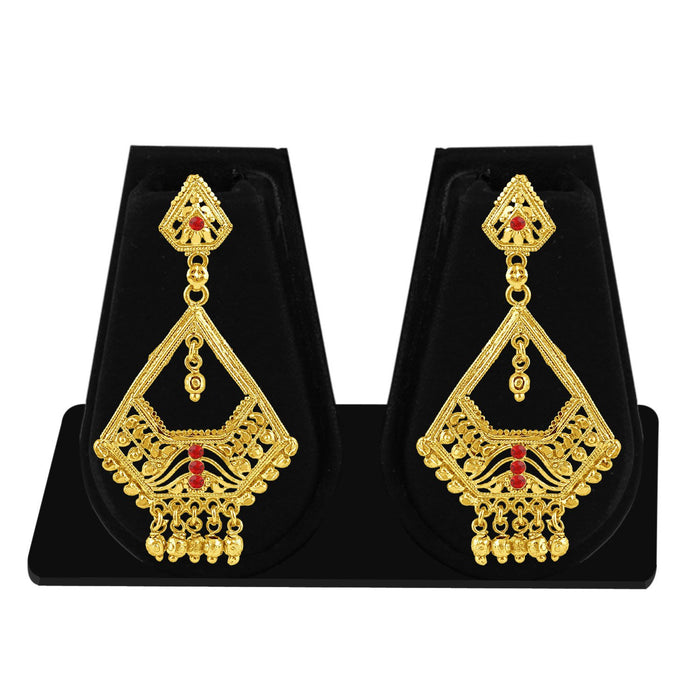 Sukkhi Exotic Gold Plated Red Studded Dangle Stone Earring For Women-1