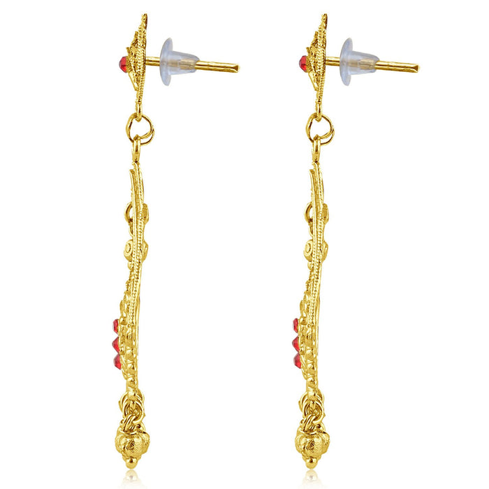 Sukkhi Exotic Gold Plated Red Studded Dangle Stone Earring For Women-2