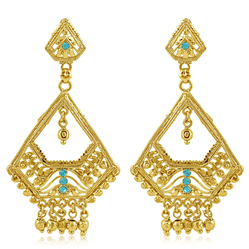 Sukkhi Classy Gold Plated Aqua Studded Dangle Stone Earring For Women