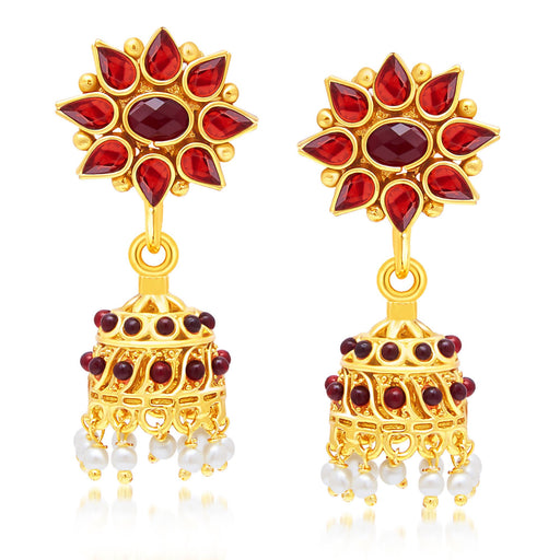 Sukkhi Sparkling Gold Plated Maroon studded Jhumki Stone Earring For Women