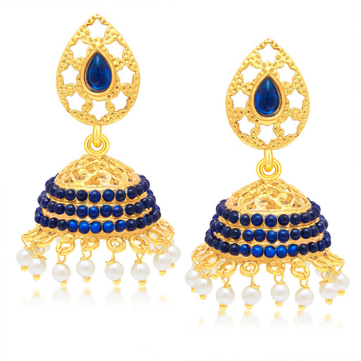 Sukkhi Glistening Gold Plated Blue Studded Jhumki Stone Earring For Women