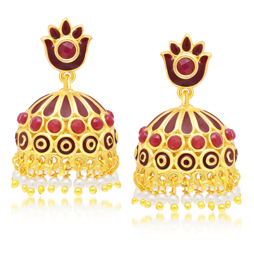 Sukkhi Youthful Gold Plated Maroon Studded Jhumki Stone Earring For Women