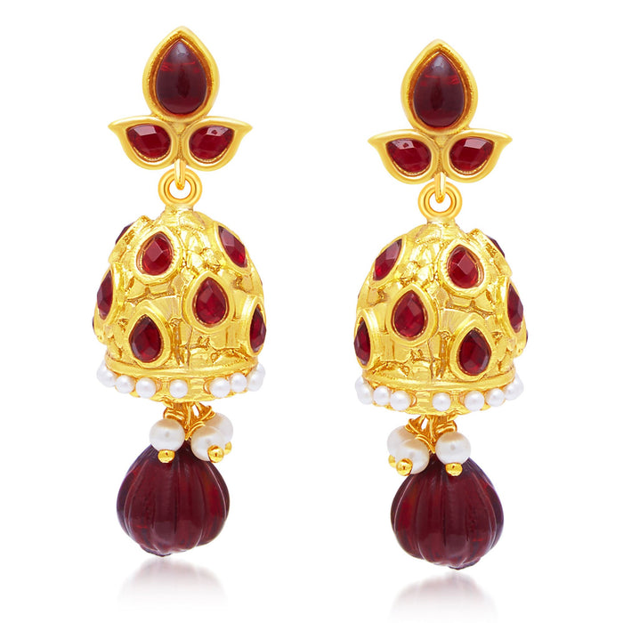 Sukkhi Creative Gold Plated Maroon Studded Jhumki Stone Earring For Women